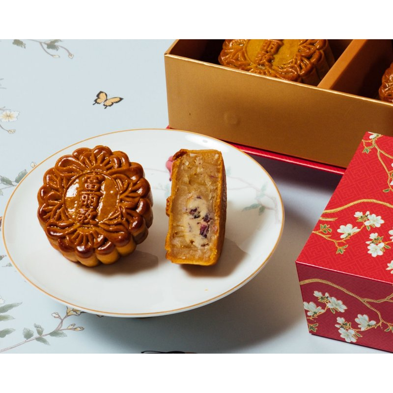 Rose Coconut Baked Mooncakes in Classic Box 玫瑰香椰