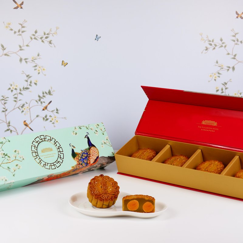 White Lotus Seed Paste with Double Yolks Baked Mooncakes in Classic Box 双黄白莲蓉