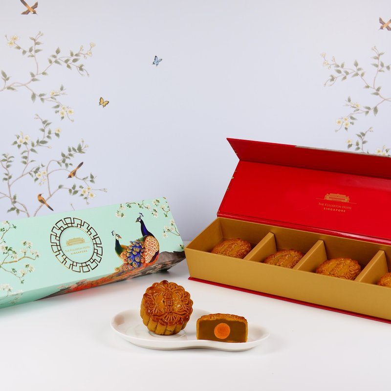 White Lotus Seed Paste with Single Yolk Baked Mooncakes in Classic Box 单黄白莲蓉