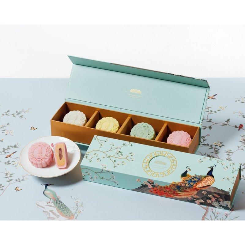 Raspberry Hokkaido Milk Snow Skin Mooncakes in Classic Box 冰皮红莓北海道牛奶