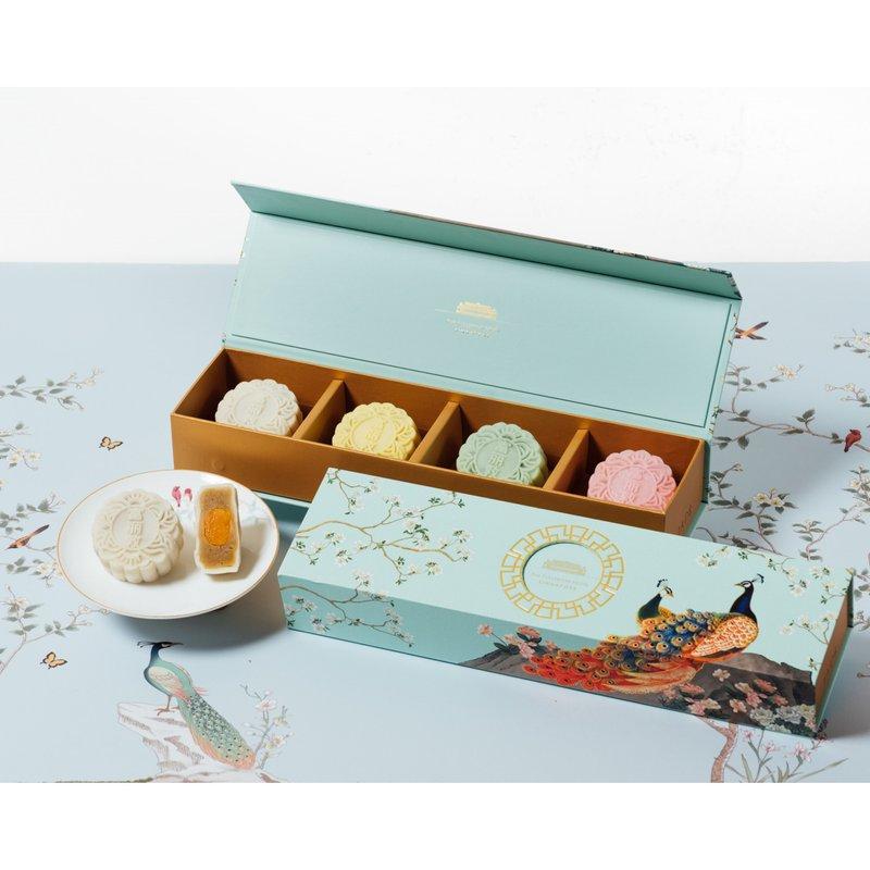 White Lotus Seed Paste with Single Yolk Snow Skin Mooncakes in Classic Box 冰皮单黄白莲蓉