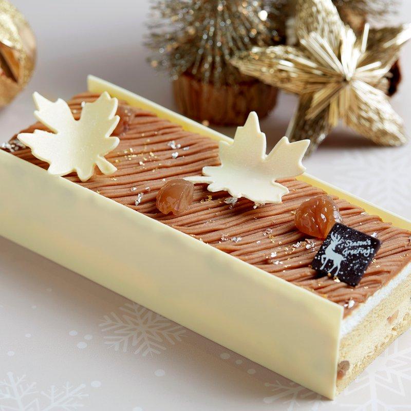 Vanilla Mont Blanc Yule Log Cake